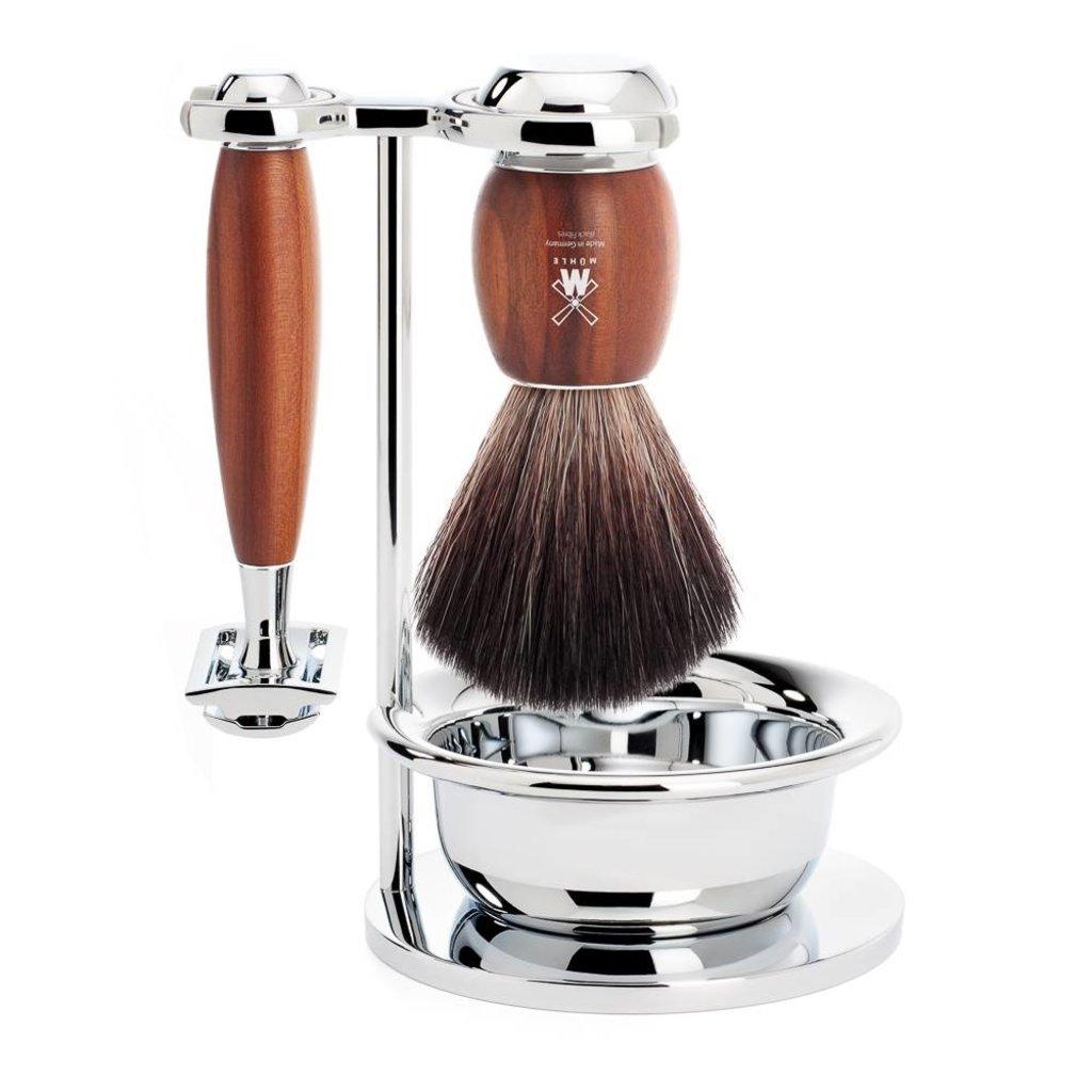 Shaving Set Vivo 4-part - Plum wood - Saf.Razor
