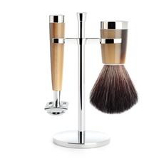 Shaving Set Liscio 3-part - High-grade resin Horn brown - Saf.Razor