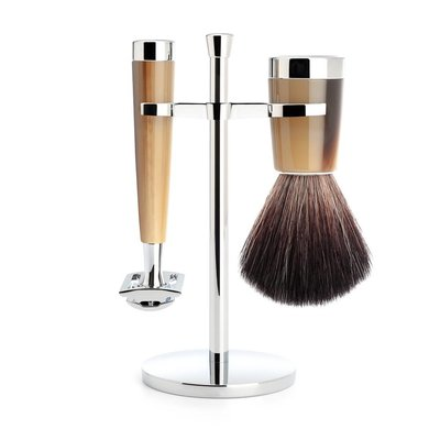 S21M142SR - Shaving Set Liscio - High-grade resin Horn brown - Saf.Razor - Fibre®
