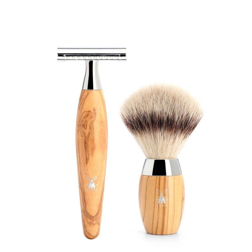 Shaving Set Kosmo 3-part - Olive wood - Saf.Razor