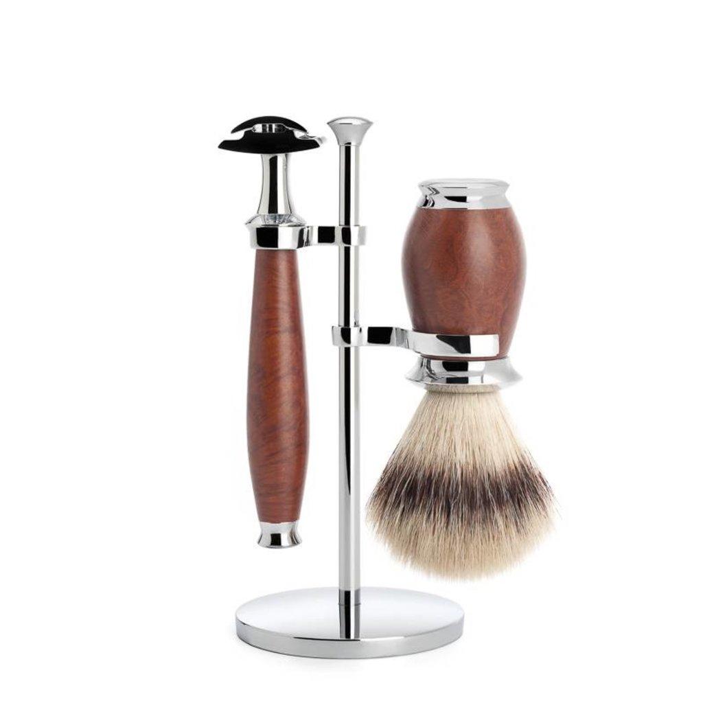 Shaving Set Purist 3-part - Briar wood - Saf.Razor