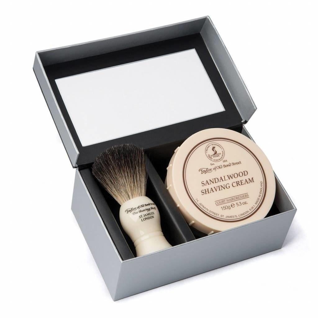 Giftbox Shaving Brush en shaving cream Sandalwood