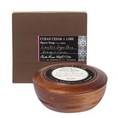 Scheerzeep in Wooden Bowl 100g Cuban Cedar & Lime