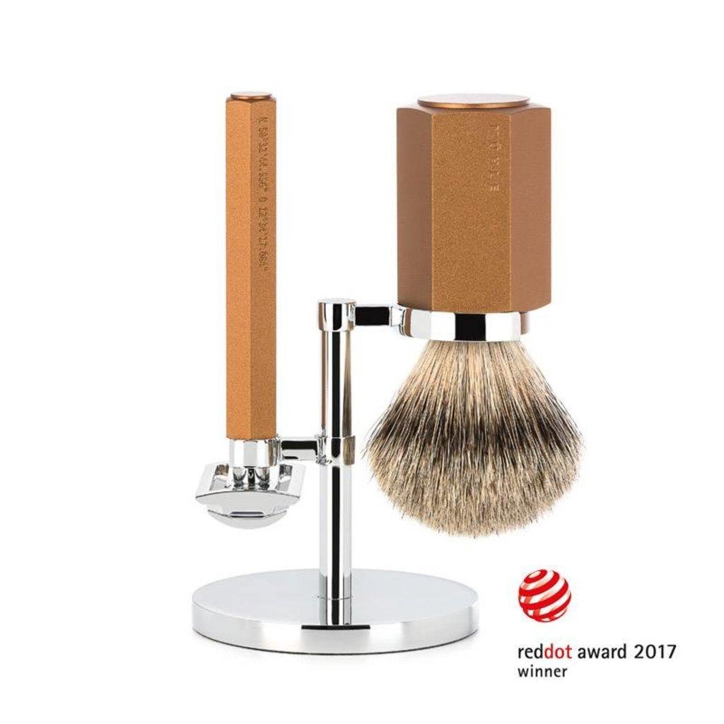 Shaving Set Hexagon - Bronze - Saf.Razor - Badger