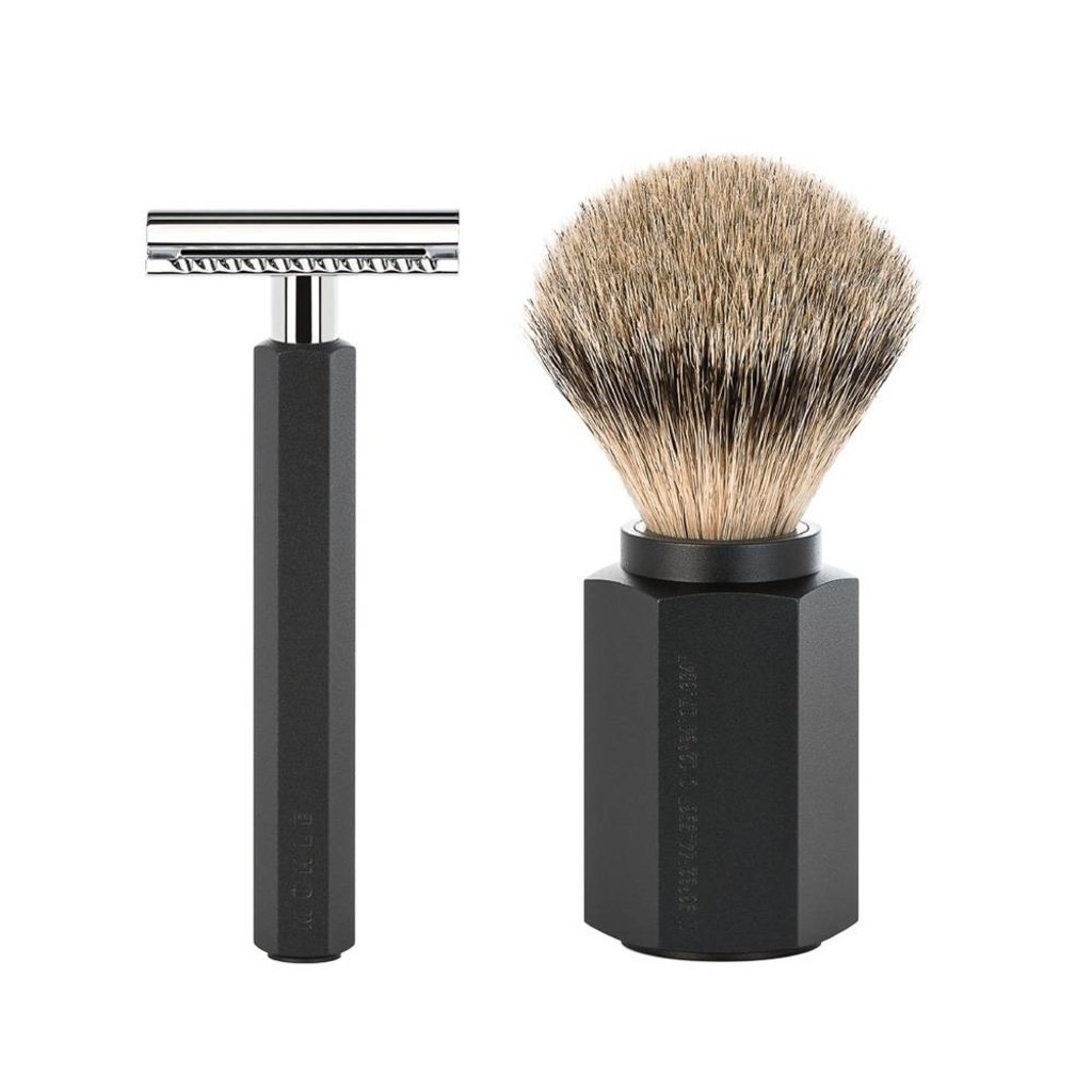 Shaving Set Hexagon - Graphite - Saf.Razor - Badger