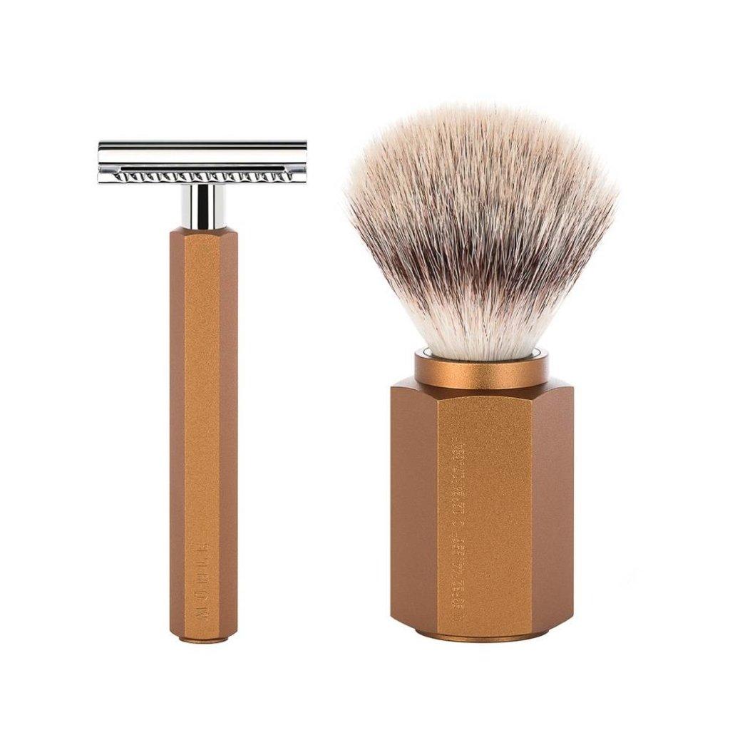 Shaving Set Hexagon - Bronze - Saf.Razor - Silvertip Fibre®