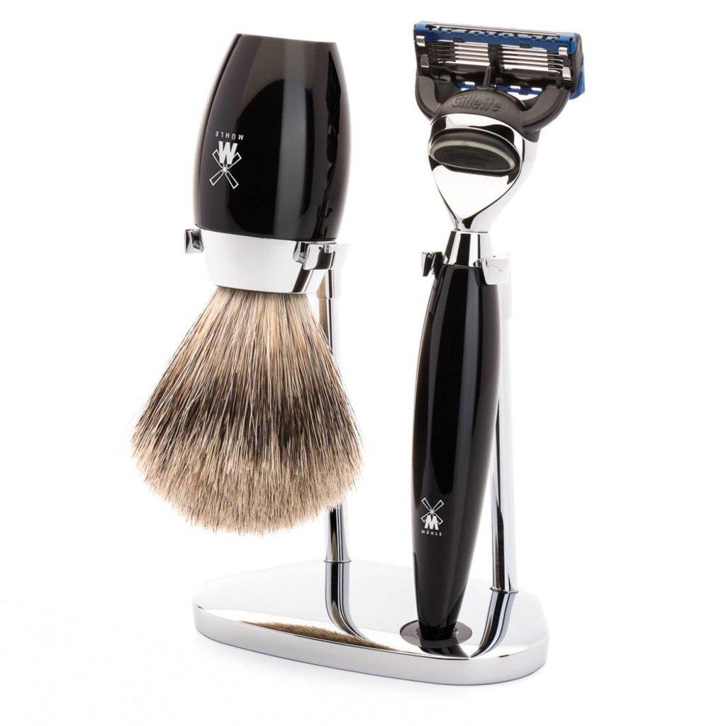 Shaving Set Kosmo 3-part - Black - Fusion®