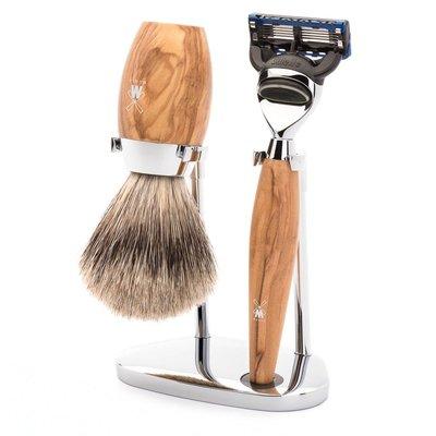 S281H870F - Shaving Set Kosmo - Olive wood - Fusion® - Badger