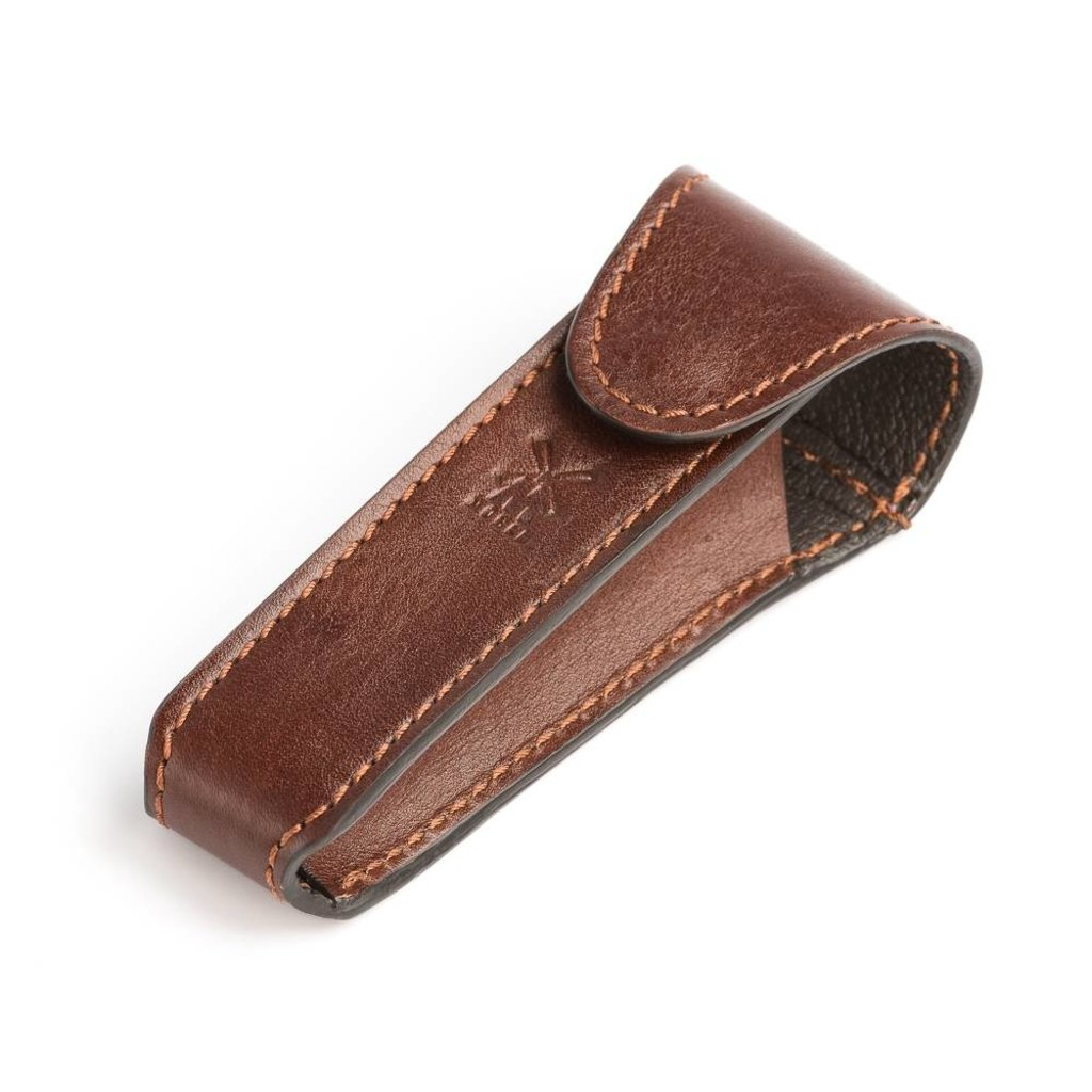 Leather pouch voor safety razor - Brown