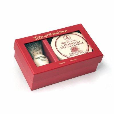 00212 - Giftbox scheerkwast en scheercrème Cedarwood