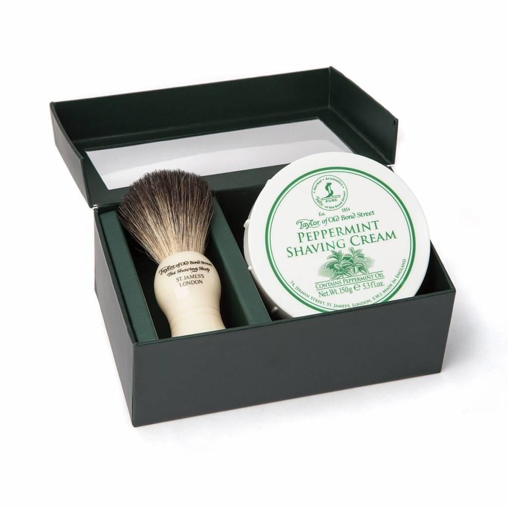 Giftbox Shaving Brush en shaving cream Peppermint