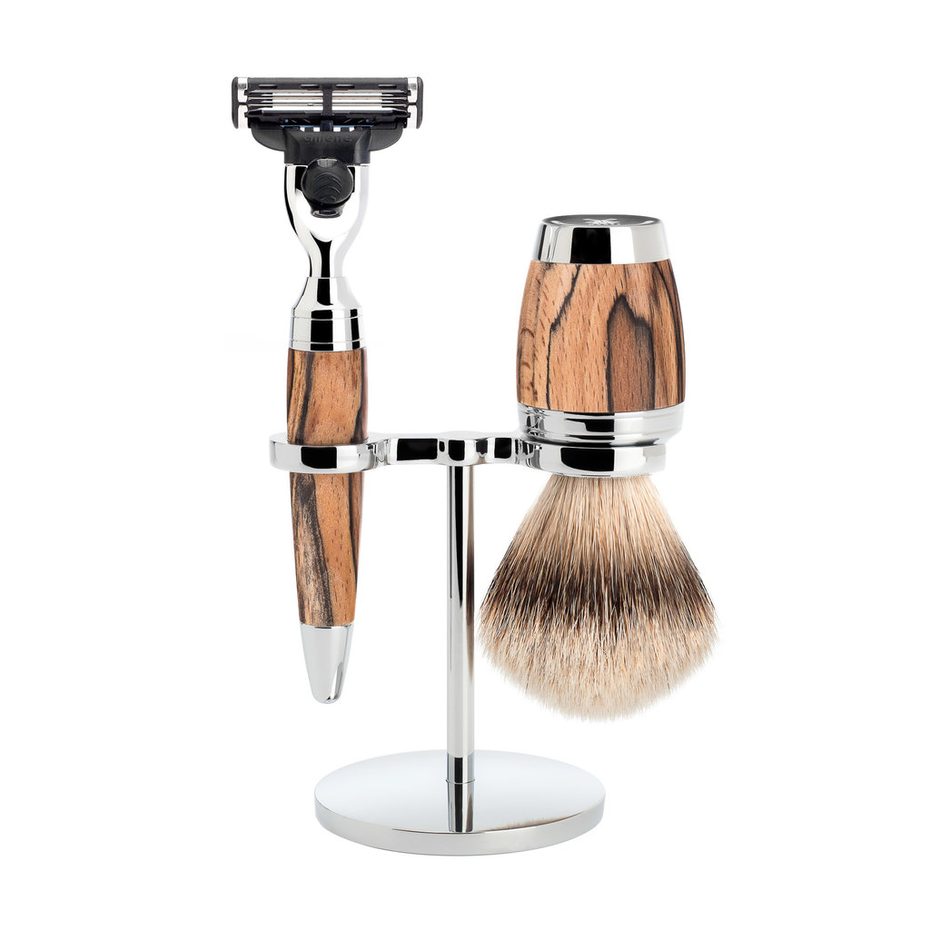 Shaving Set 3-part Stylo - Spalted beech Mach3®