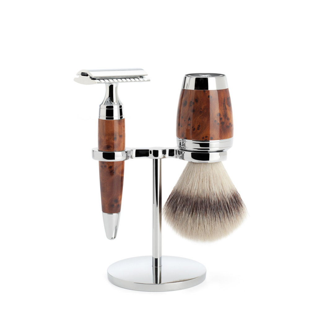 Shaving Set 3-part  Stylo - Thuja wood Saf.Razor
