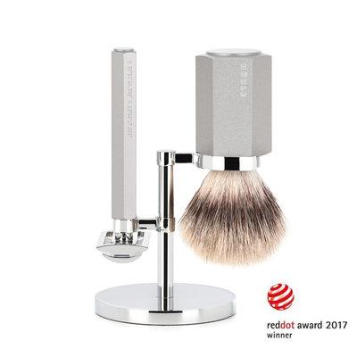 S31M-HXG-PURE - Shaving Set Hexagon - Silver - Saf.Razor - Silvertip Fibre®