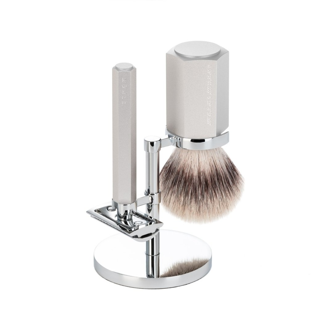 Shaving Set Hexagon - Silver - Saf.Razor - Silvertip Fibre®