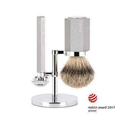 S091M-HXG-PURE - Shaving Set Hexagon - Silver - Saf.Razor - Badger