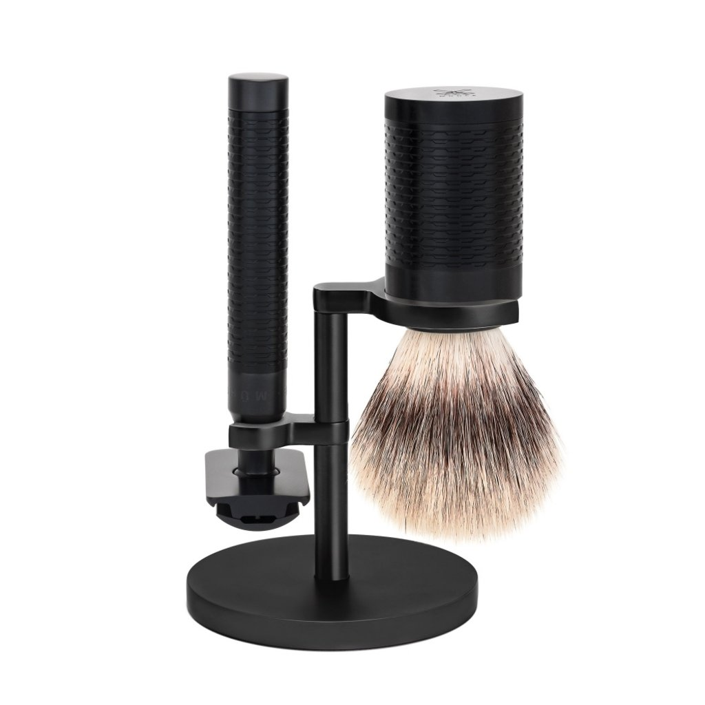 Shaving Set Stainless Steel Black/ DLC Coating Silvertip Fibre® - Rocca