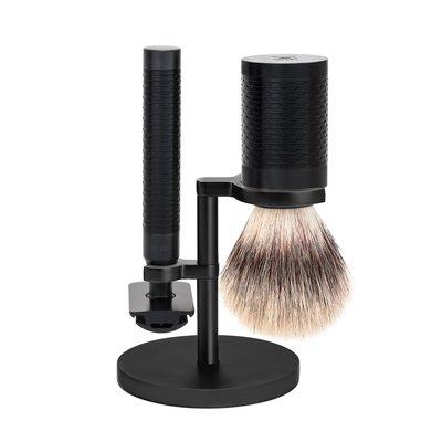 S31M96JET - Shaving Set Stainless Steel  Black/ DLC Coating Silvertip Fibre®