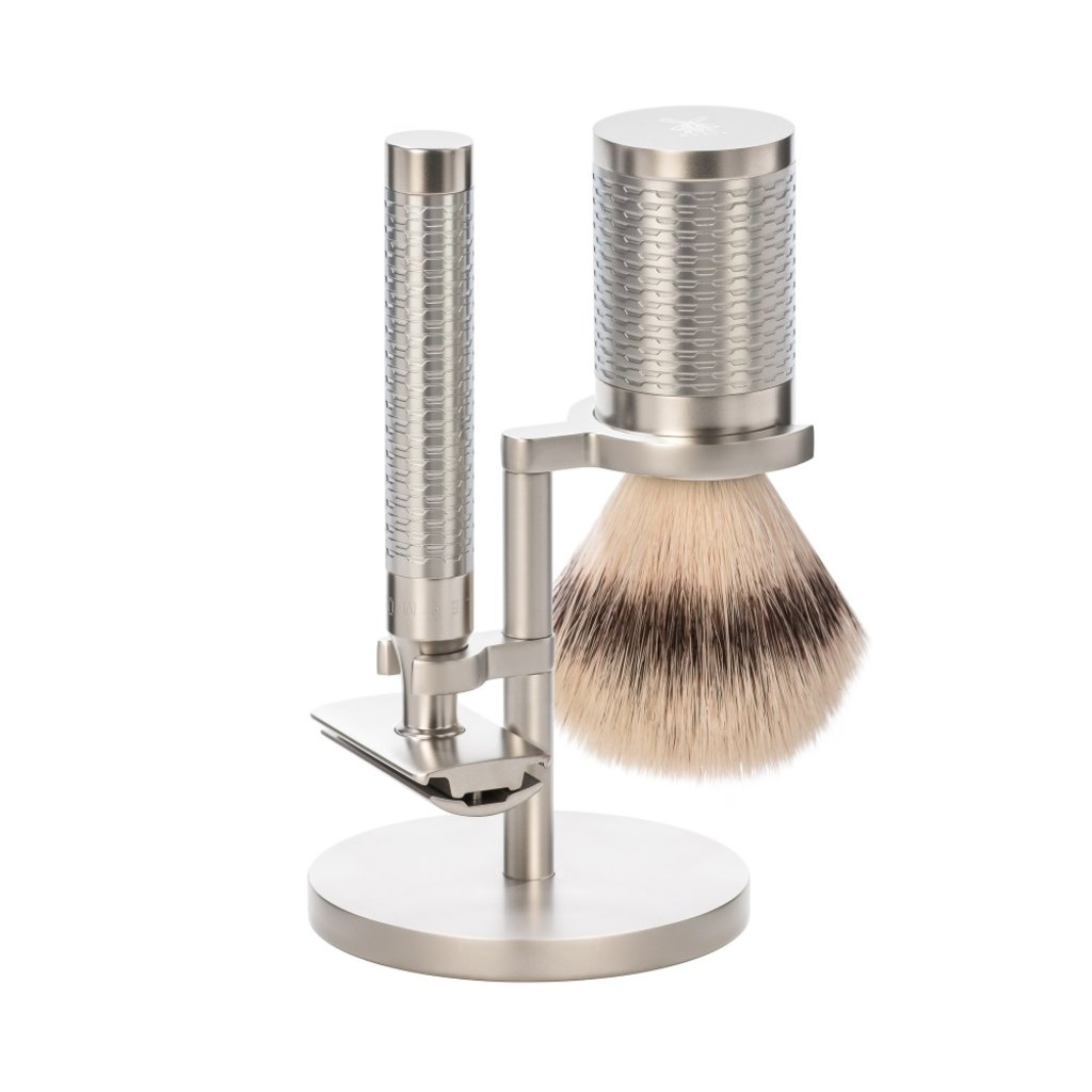 Shaving Set Stainless Steel Silvertip Fibre® - Rocca