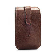 Leather pouch for traveling, brown