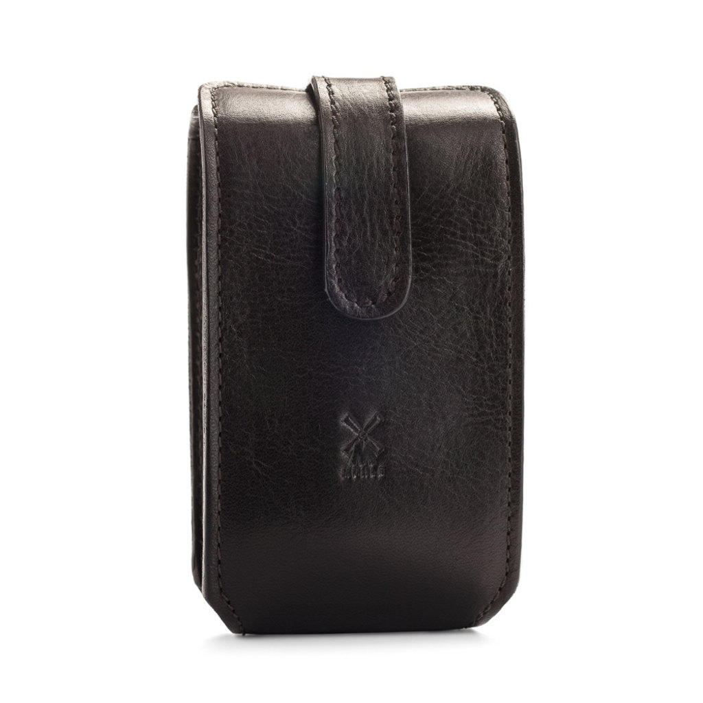 Leather pouch for traveling, black