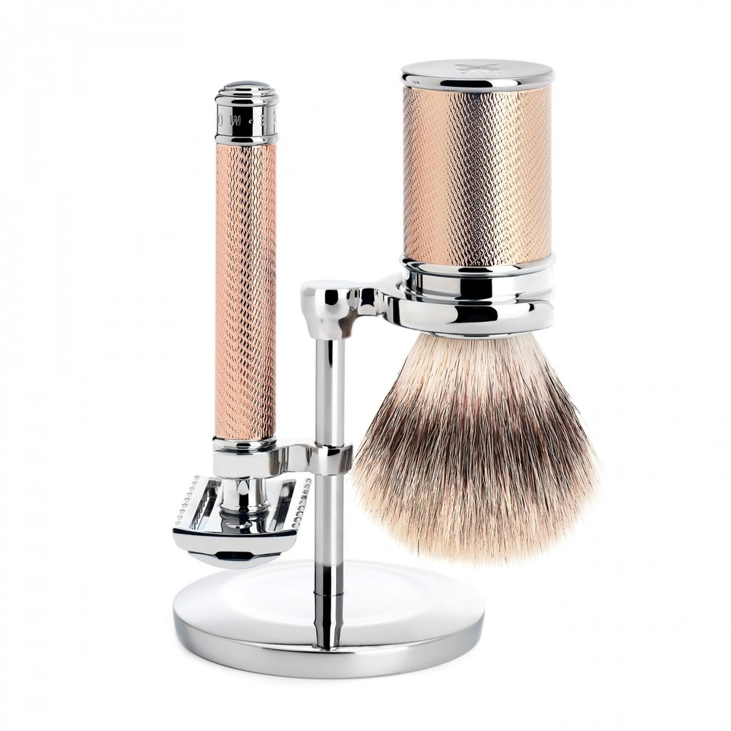 Shaving Set Traditional - Safety razor open comb - Fibre® - Rosegold