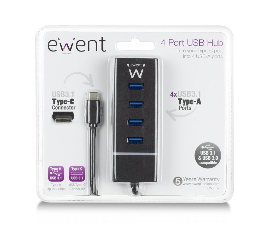 USB 3.1 Gen1 (USB 3.0) Hub 4 port Type-C connector