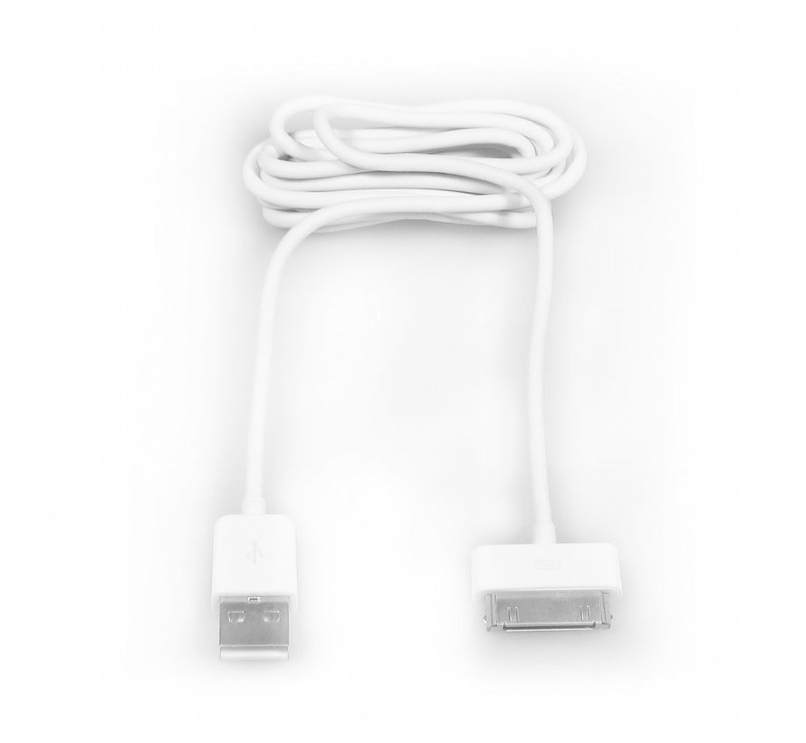 USB2.0 to Apple 30 pin cable,OD 3.5 Length 1.5M, white