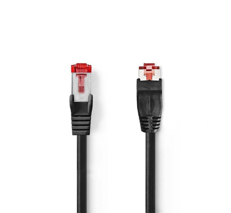 CAT6 SF/UTP-netwerkkabel/RJ45 1m Zwart