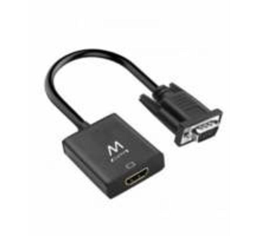 kabeladapter/verloopstukje VGA-15pin HDMI 3.5mm zwart