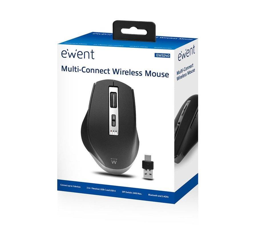 Draadloze multi-connect muis, 600 tot 2400 dpi, zwa