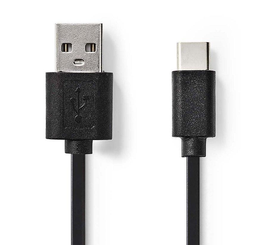 Kabel USB 2.0 / Type-C male - A male / 3m / Zwart