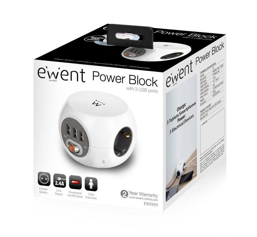 Power block 3 USB charging ports, 3 Outlets, white