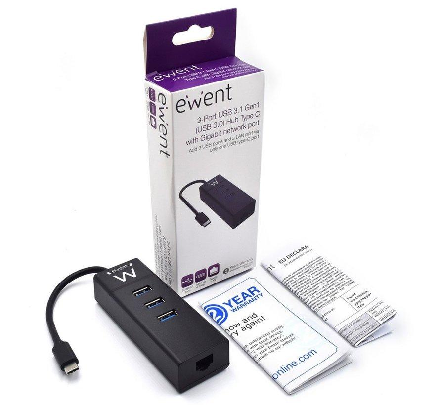 USB-C Hub met 3xUSB-A en Gigabit netwerk poort