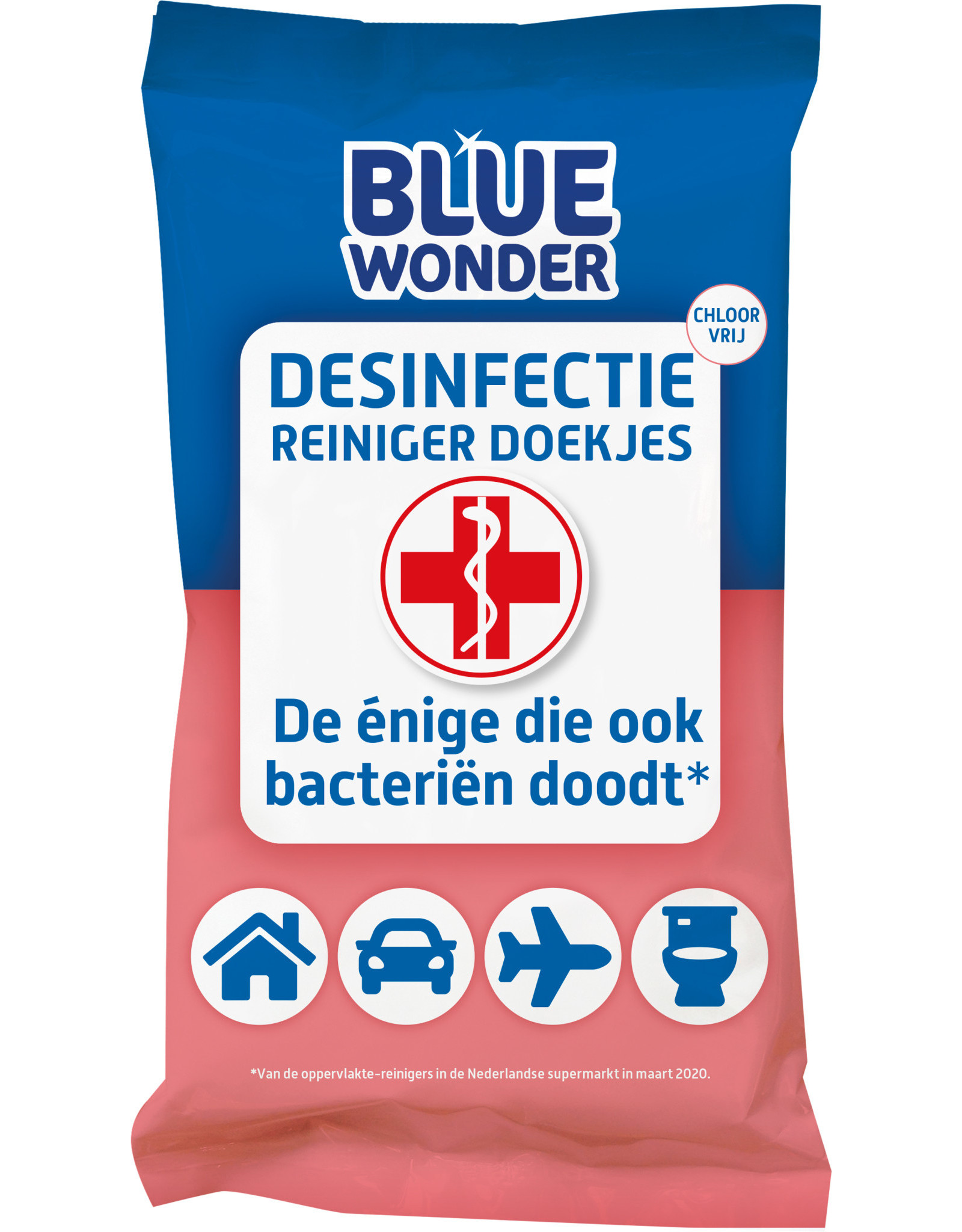 Blue Wonder Blue Wonder Desinfectie Reis/WC Doekjes - 12x 20 omdoos