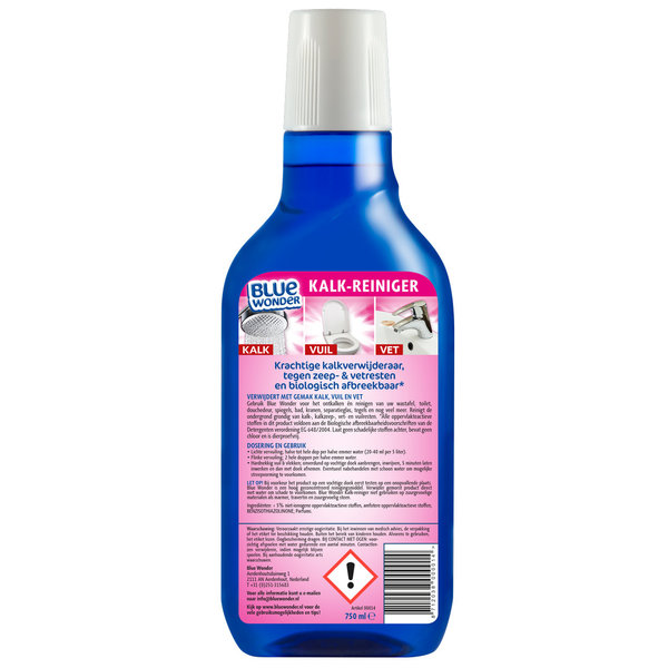 Blue Wonder Blue Wonder Kalk-reiniger - 750 ml fles met Dop