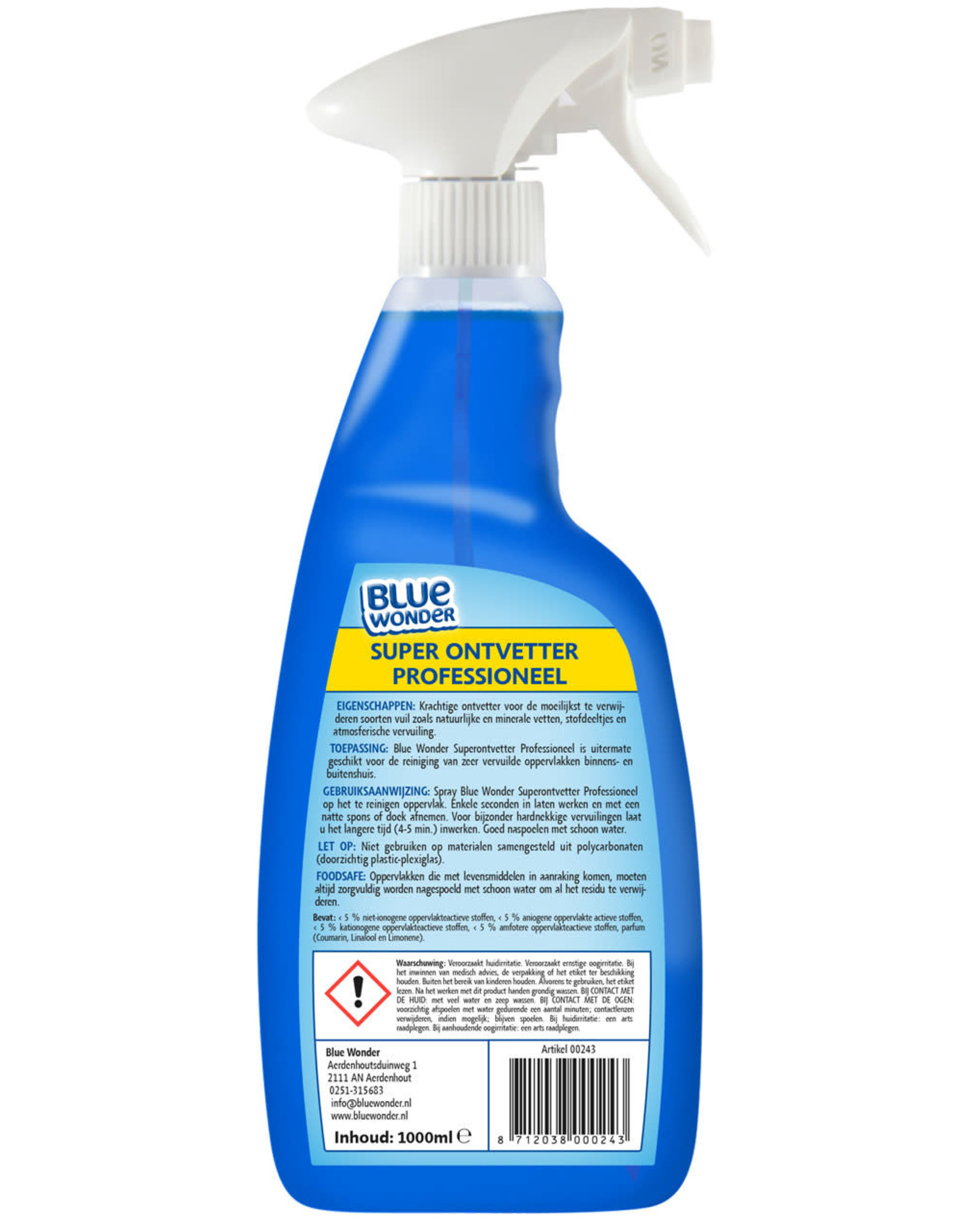 Blue Wonder Blue Wonder Professioneel Super ontvetter Spray  6x 1000 ml omdoos