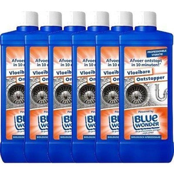 Blue Wonder Blue Wonder Liquid Drain Cleaner 6x 750 ml Flask with Cap