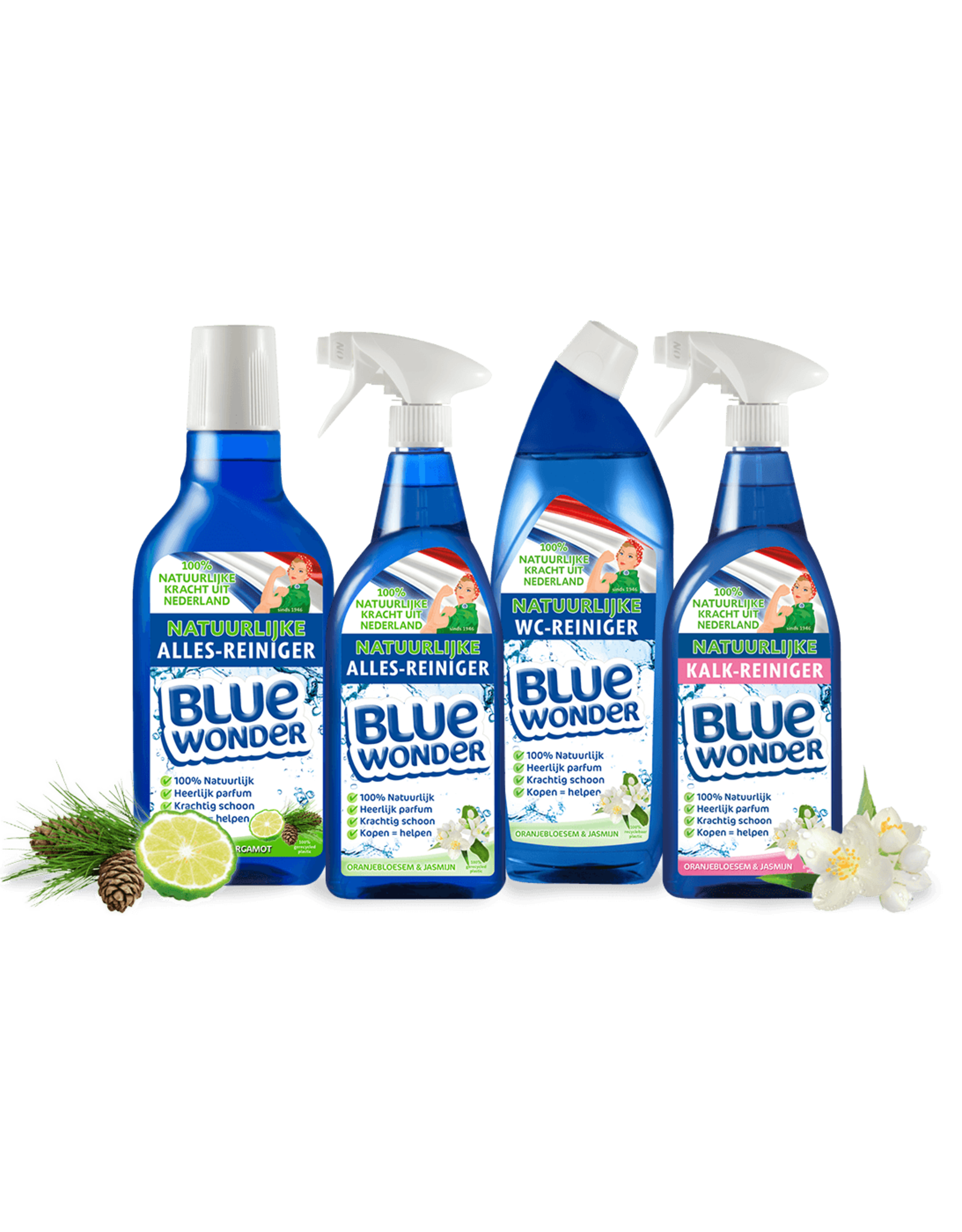 Blue Wonder Blue Wonder 100% natuurlijke Alles Reiniger Oranjebloesem Voordeelverpakking - 6x 750 ml spray fles omdoos (4,5 L)