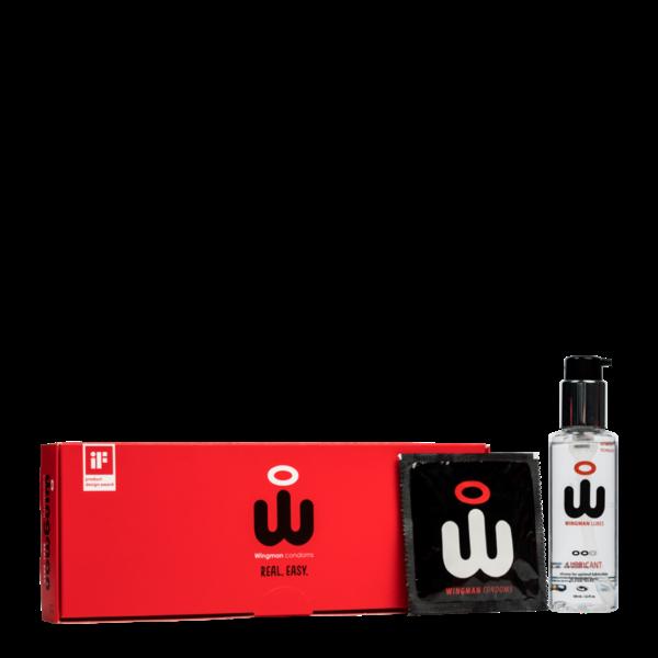 Wingman Wingman Condoms Real Easy 12 pack 56 mm + 100ML Lube Combi