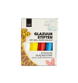 VOILA Home Bakery Voila Glazuur stiften | 4 kleuren | wit rood geel blauw - 76 gram