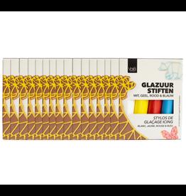VOILA Home Bakery Voila Glazuur stiften | 4 kleuren | wit rood geel blauw - 16x 76 gram (1,22 KG)