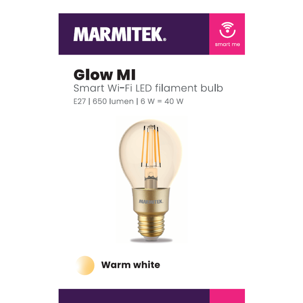 Marmitek Smart Wi-Fi LED filament bulb M - E27 | 650 lumen | 6 W = 40 W - 12x omdoos