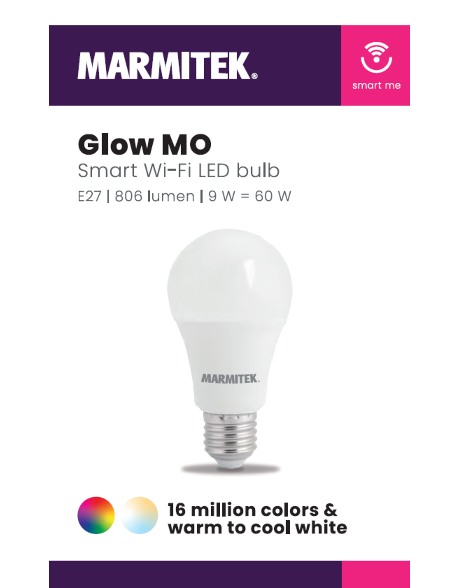 Marmitek Smart Wi-Fi LED bulb color - E27 | 806 lumen | 9 W = 60 W - omdoos (12 stuks)