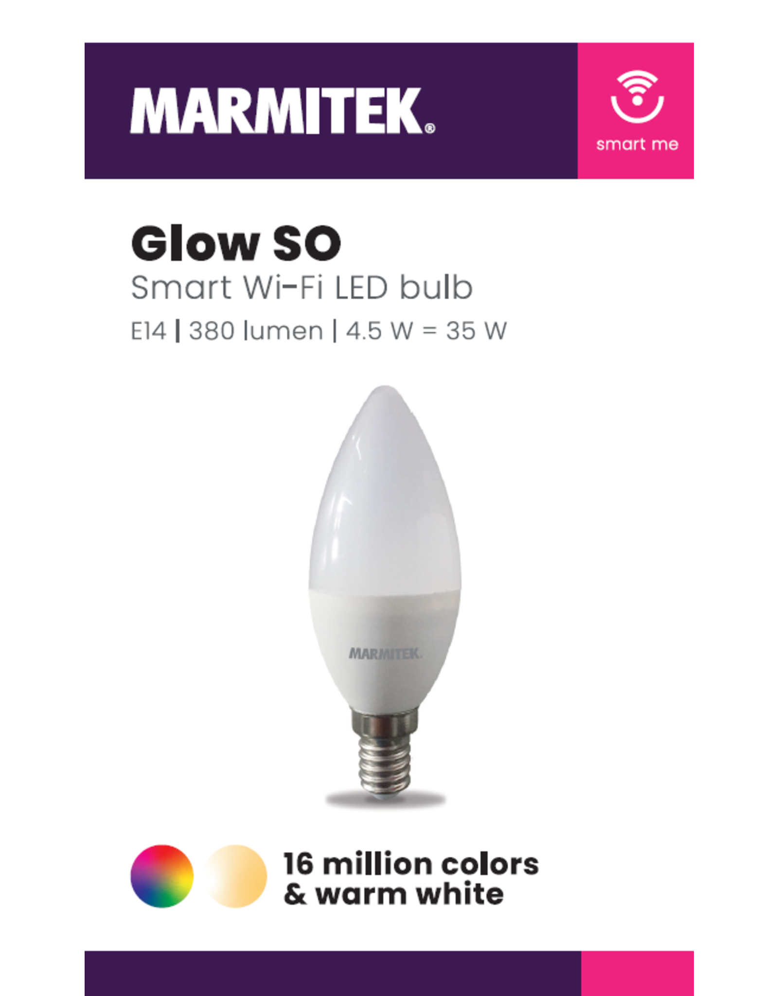 Marmitek Smart Wi-Fi LED bulb color - E14 | 380 lumen | 4.5 W = 35 W - omdoos (12 stuks)