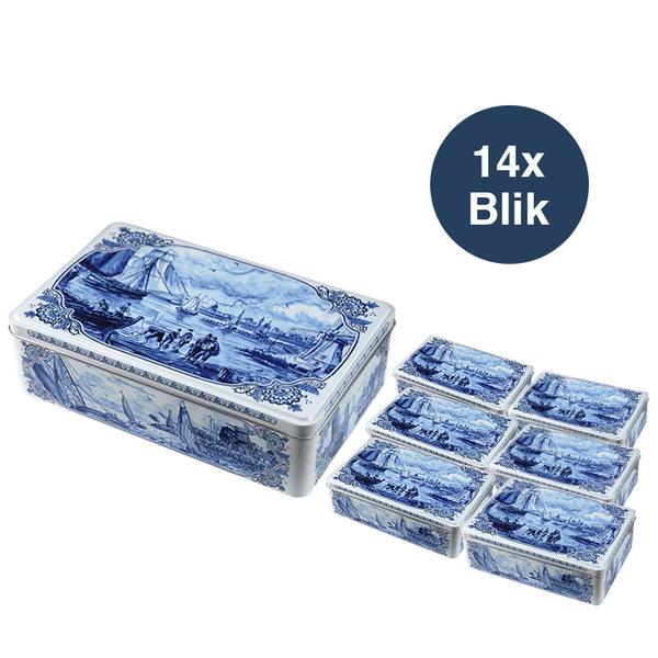 Hellema Hellema Speculaas in Delfts Blauw blik - 14x 415 gram blik in grootverpakking