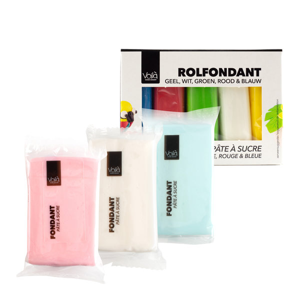 VOILA Home Bakery Voila Rolfondant Assortiment  Multipack Verschillende Kleuren  (5x 100 gr.) - 500 gram pakje