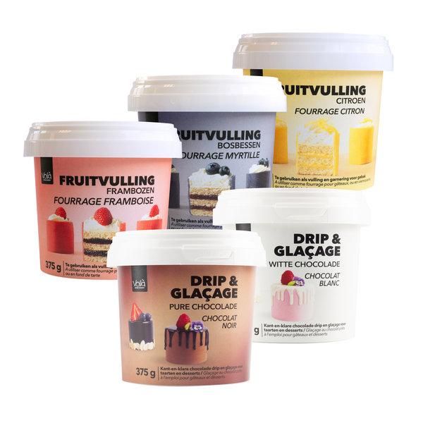 VOILA Home Bakery Voila Drip & Glacage pure chocolade - 6x 375 gram omdoos