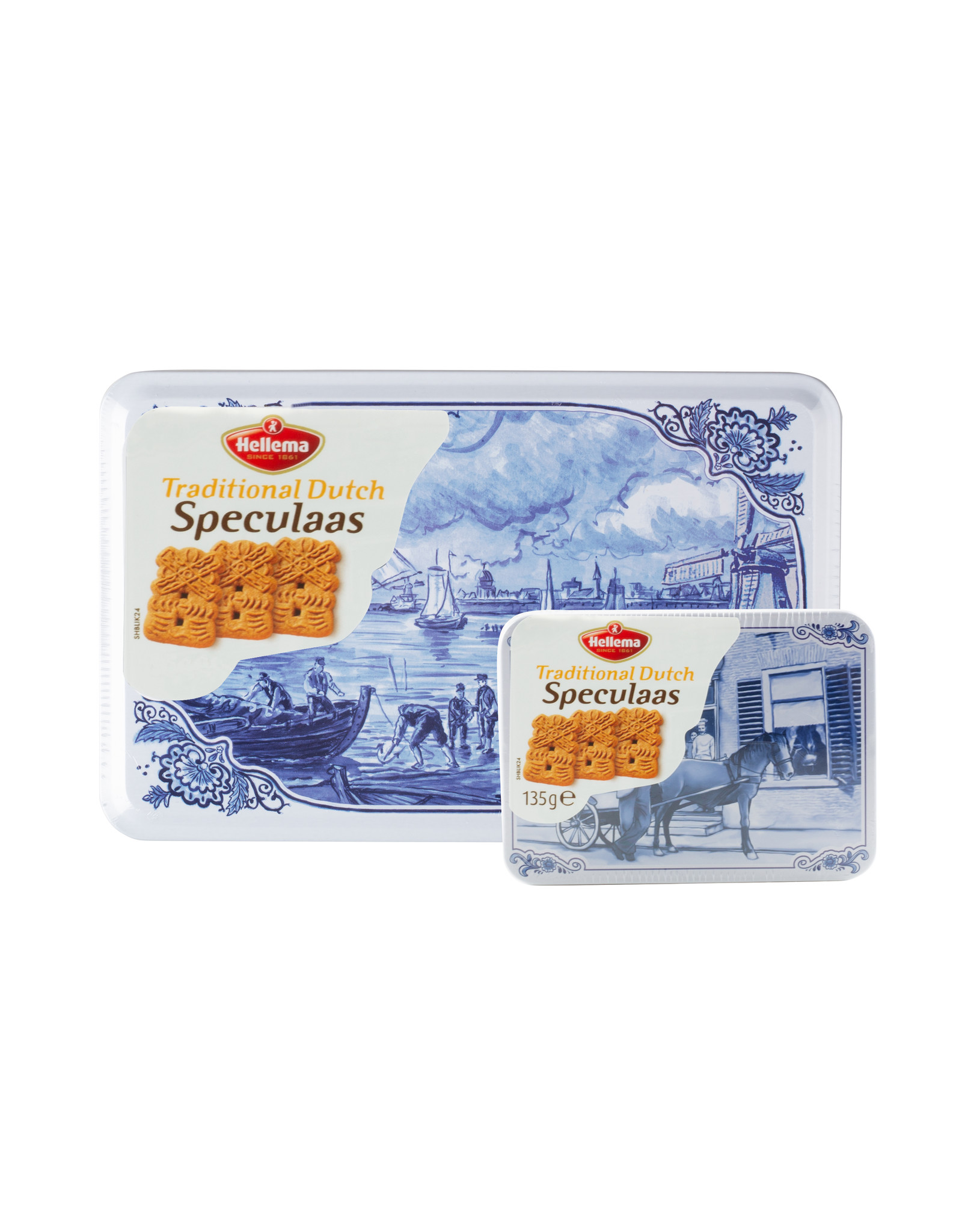 Hellema Hellema Spiced Cookies in Delft blue can - 135 gram