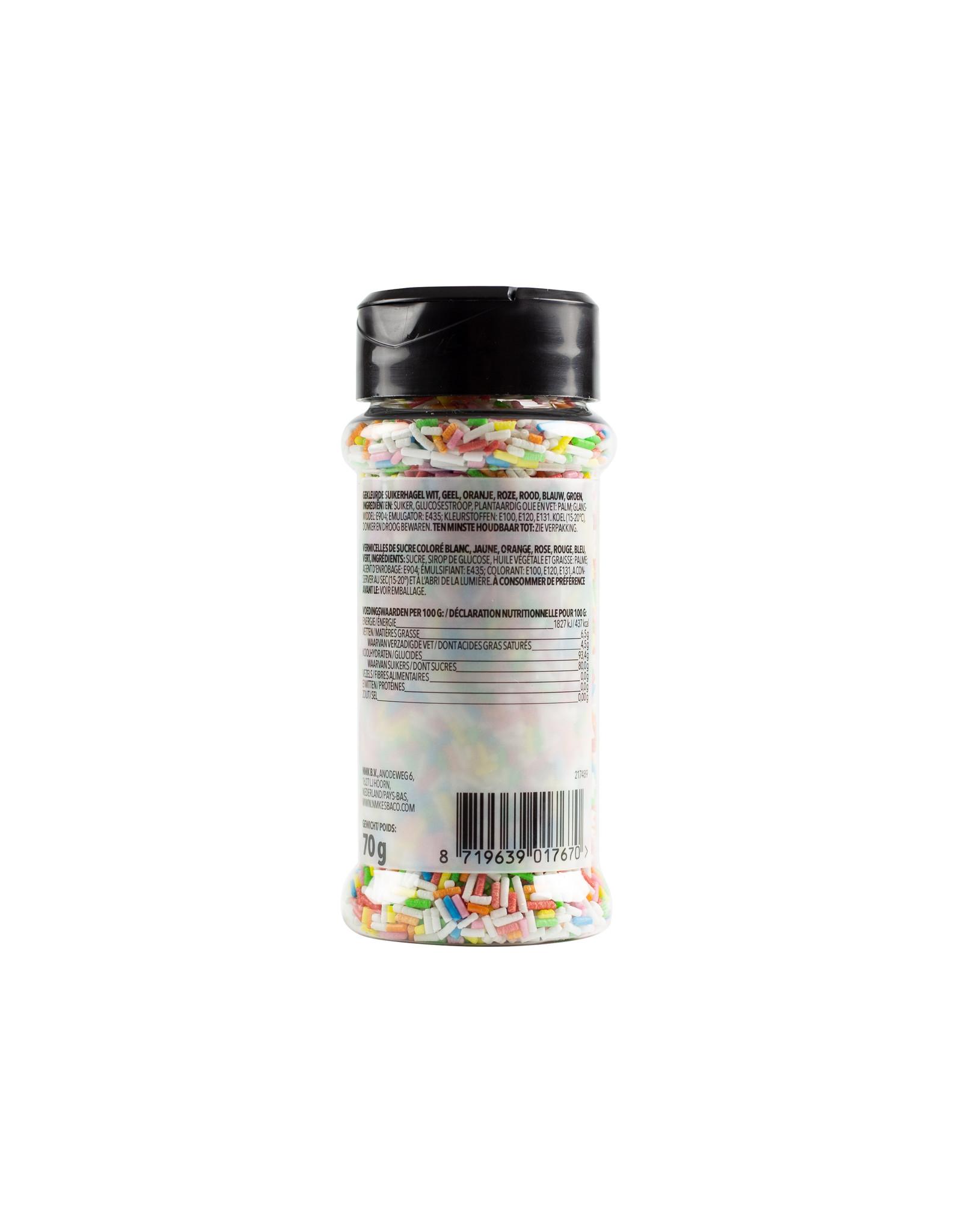 VOILA Home Bakery Voila Home Bakery Multi Coloured Sugar Strands rainbow  - 70 grams sprinkle jar